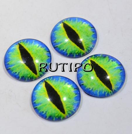 10-52 Глазки-кабошоны зеленые, стекло, 10мм, пара