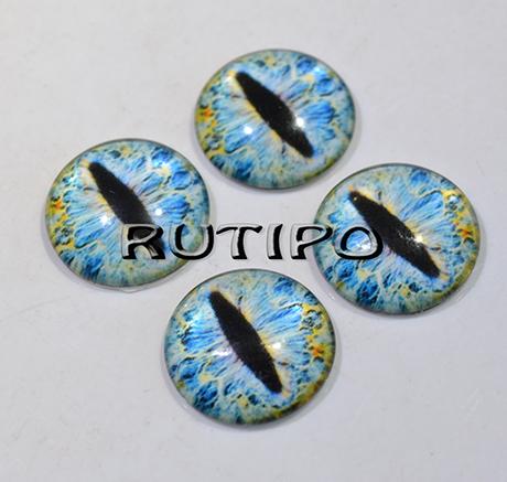 14-51 Очки-кабошони сіро-блакитні, скло, 14мм, пара