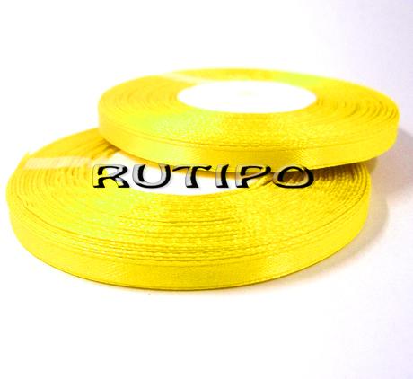 8011 Лента атласная лимонно-желтая, 6мм*32.8м (бобина)