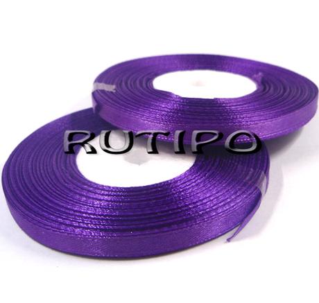 8122 Лента атласная фиолетовая, 6мм*32.8м