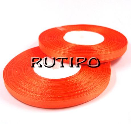 8027 Стрічка атласна яскраво-помаранчева, 6мм * 32.8м (бобіна)