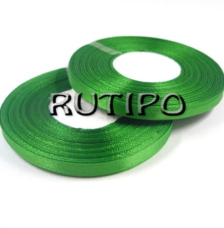 8086 Стрічка атласна насичено-зелена, 6мм * 32,8м (бобіна)