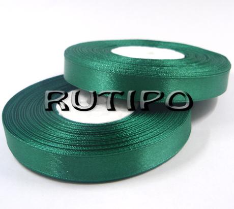8090 Лента атласная изумрудно-зеленая, 1см*32.5м (бобина)