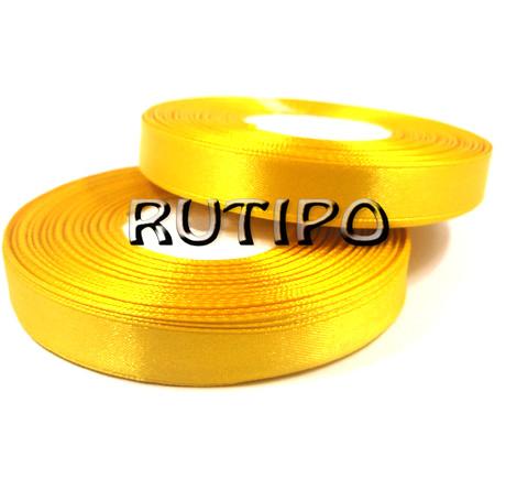 8012 Стрічка атласна золотисто-жовта, 1см * 32.5м (бобіна)