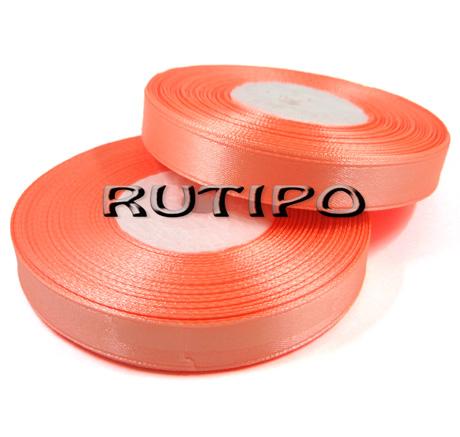 8025 Лента атласная оранжевый персик, 1.25см*32.5м (бобина)