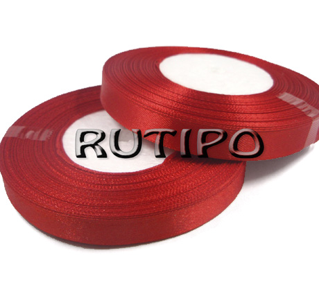 8055 Стрічка атласна червона, 1.25см * 32.5м (бобіна)