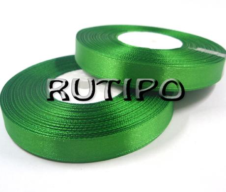 8086 Стрічка атласна насичено-зелена, 1.25см * 32.5м (бобіна)