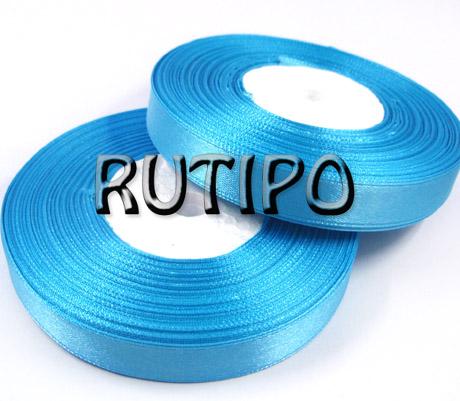 8103 Стрічка атласна блакитна, 1.25см * 32.5м (бобіна)