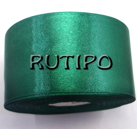 8090 Стрічка атласна смарагдово-зелена, 5 см, 5м (+ 5м в подарунок)