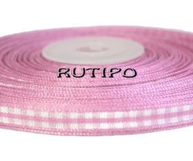 Лента в клетку пепельно-розовая, 7мм*1м