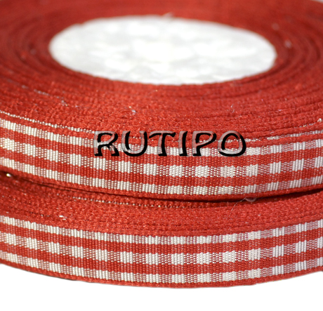 Small checkered ribbon, red, 10mm * 1m