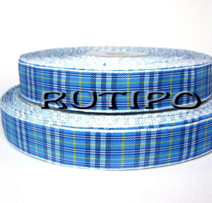 Стрічка в клітку блакитна, 15мм * 1м