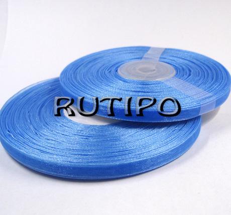 Стрічка органза насичено-блакитна, 6мм * 20м