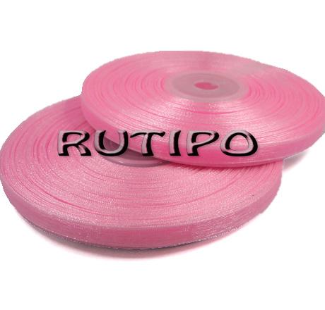 Стрічка органза рожева, 7мм * 20м