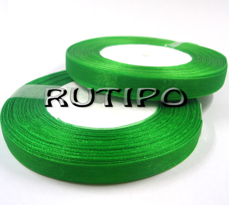 Стрічка органза зелена, 1см * 45м