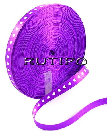 Стрічка атласна фіолетова в сердечка, 10мм * 1м