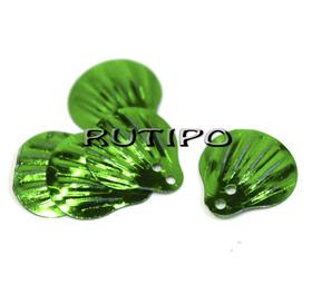 Пайетки чешуйки зеленые 14мм, 10шт
