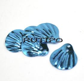 Пайетки чешуйки голубые 14мм, 10шт