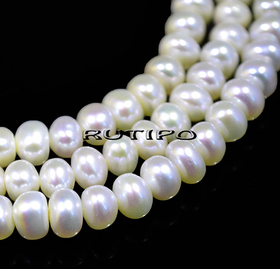 Pearls, Ivory, 6-5 * 4mm, low 38cm (approx. 80pcs)
