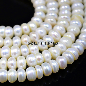 Pearls, Ivory, 6-7 * 3-4mm, low 38cm (approx. 90pcs)