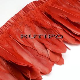Тесьма перьевая красная, 10см