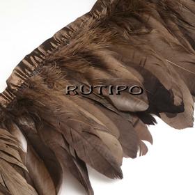 Тесьма перьевая коричневая, 10см