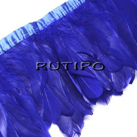 Тесьма перьевая синяя, 10см