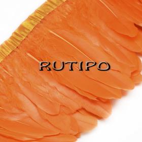Тесьма перьевая оранжевая, 10см