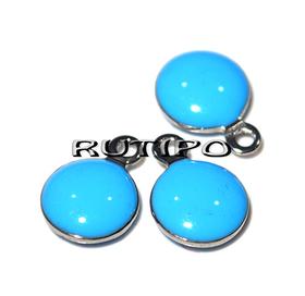 Підвіска блакитна, мед.сталь, 11*8мм, шт