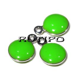 Подвеска зеленая, ювелирная сталь, 11*8 мм, шт
