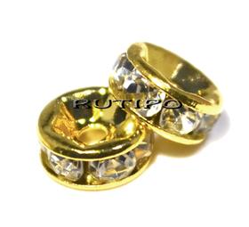 Разделитель под золото со стразами Crystal, 6мм, шт