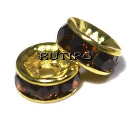 Разделитель под золото со стразами Brown ,6мм, шт