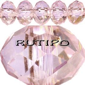 Рондель хрустальный AB Plated Pink 8*6мм, 100шт