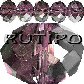 Рондель хрустальный HalfSilver Purple 12*10мм, шт