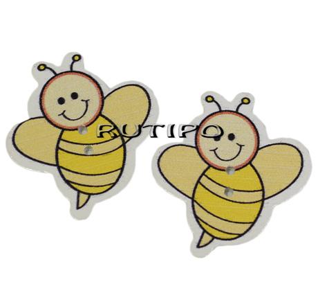 """Ґудзик дерев'яний """"Бджілка"""", 33 * 30 * 2 мм, 1шт"""