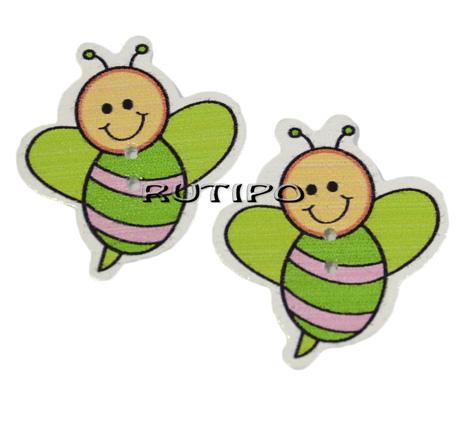 """Пуговка дерев'яна """"Бджілка"""", 33 * 30 * 2 мм, 1шт"""
