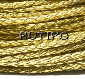 Шнур плетений ПУ шкіра, Gold 3 мм, 1м