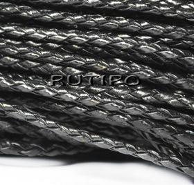 Шнур плетений ПУ шкіра, Black 3 мм, 1м