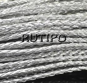 Шнур плетений ПУ шкіра, Silver 3 мм, 1м