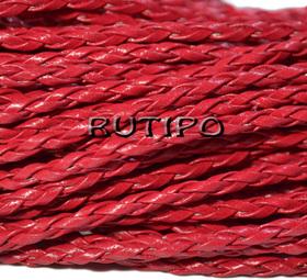 Шнур плетеный ПУ кожа, красный 3мм, 1м