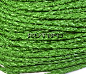 Шнур плетений ПУ шкіра, зелений 3мм, 1м