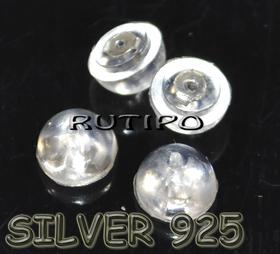 Заглушки Серебро925+силикон  6*4мм, пара
