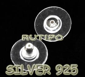 Заглушки Серебро925 + пластик 12*8мм, пара