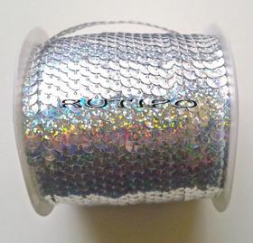 Пайетки на нитке под серебро (голограмма), 6мм*1м