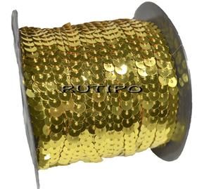 Пайетки на нитке золотистые (простые), 6мм, бобина