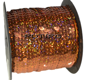 Пайетки на нитке терракотовые (голограмма), 6мм*1м