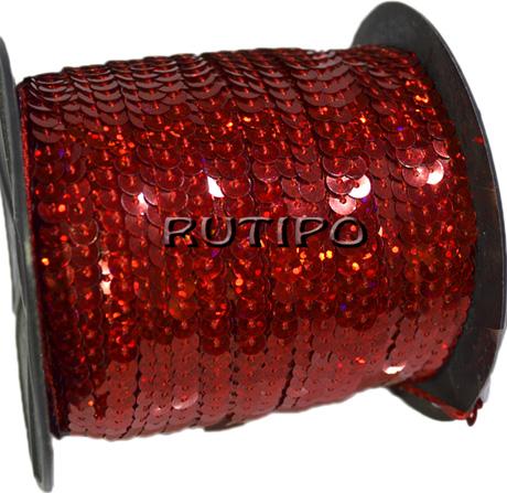 Паєтки на нитці червоні (голограма), 6мм * 1м