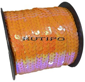 Пайетки на нитке оранжевые (перламутр), 6мм, бобина