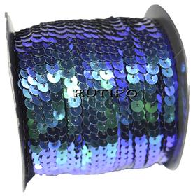 Пайетки на нитке с синим и зеленым перламутром, 6мм, бобина