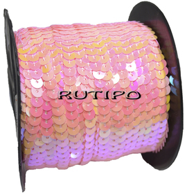 Пайетки на нитке светло-розовые (перламутр), 6мм, бобина